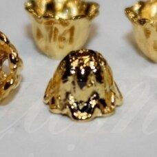 md2819 apie 5 x 7 mm, auksinė spalva, kepurėlė, apie 36 vnt.