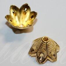 md2838 apie 20 x 13 mm, šviesi, auksinė spalva, kepurėlė, 4 vnt.