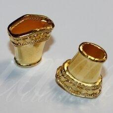 md2842 apie 16 x 15 x 8 mm, šviesi, auksinė spalva, kepurėlė, 3 vnt.