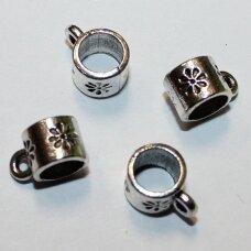 md3129.5 apie 6 x 7.5 x 11 mm, skylė 5.5 mm, metalo spalva, pakabuko detalė, 12 vnt.