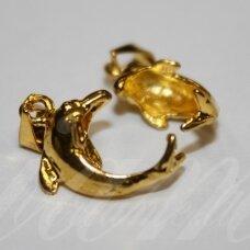 md3116 apie 21 mm, auksinė spalva, delfino forma, laikiklis, 2 vnt.