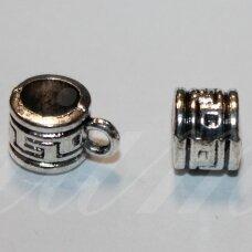 md3158 apie 6 x 7.5 x 10.5 mm, metalo spalva, skylė 5 mm, pakabuko detalė, 8 vnt.