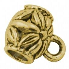 md3160 apie 9x7.5 mm, skylė 3.5 mm, sendinta auksinė spalva, pakabuko detalė, 6 vnt.