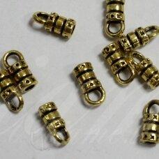 MD3178 apie 10 x 4 mm, sendinto aukso spalva, skylių,2.5 mm, užbaigimo detalė, 10 vnt.