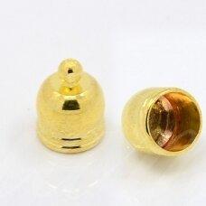 md3301 apie 10 x 7 mm, auksinė spalva, skylė 6.5 mm, užbaigimo detalė, 6 vnt.