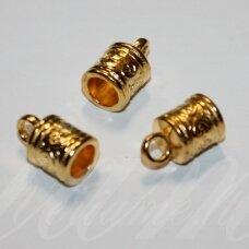 md3304.8 apie 16 x 10 mm, skylė apie 6.5 mm, šviesi, auksinė spalva, užbaigimo detalė, 3 vnt.