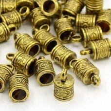 md3305 apie 16 x 10 mm, skylė apie 6.5 mm, sendinta auksinė spalva, kepurėlė, 3 vnt.