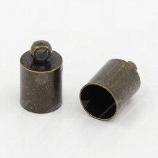 md3349.4 apie 12 x 8 mm, žalvario spalva, skylė 7.5 mm, užbaigimo detalė, 6 vnt.