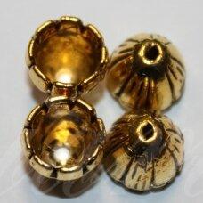 MD3361.2 apie 10.5 x 9 mm, sendinto aukso spalva, skylių,8 mm, užbaigimo detalė, 6 vnt.