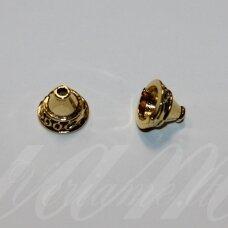 md3364 apie 14 x 10.5 mm, sendinta auksinė spalva, skylė 10 mm, užbaigimo detalė, 4 vnt.
