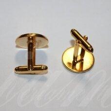 MD3417.8 apie 19 x 18 mm, tinka 16 mm disko formos kabošonui, auksinė spalva, sąsaga, 2 vnt.