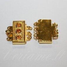 MD3869 apie 17 x 18 x 5 mm, aukso spalva, akutės, šviesi, oranžinė spalva, užsegimas, 2 vnt.