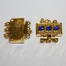 MD3871 apie 17 x 18 x 5 mm, aukso spalva, akutės, karališko mėlynumo spalva, užsegimas, 2 vnt.