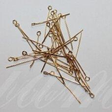 md4061 apie 30 mm, rusiško aukso spalva, smeigtukas su kilpute, apie 230 vnt.