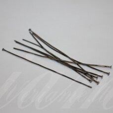 MD4257 apie 20 x 0.7 mm, juoda spalva, smeigtukas su plokščia galvute, apie 260 vnt.