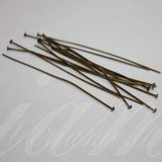 md4307 apie 20 x 0.7 mm, žalvario spalva, smeigtukas su plokščia galvute, apie 100 vnt.