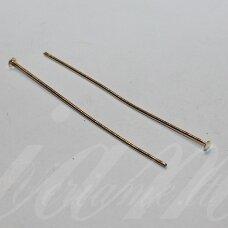 md4362 apie 40 x 0.7 mm, rusiško aukso spalva, smeigtukas su plokščia galvute, apie 100 vnt.
