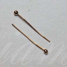 md4662.5 apie 40 x 0.6 mm, rusiško aukso spalva, smeigtukas su burbuliuku, apie 60 vnt.