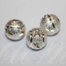MD5038 apie 11 mm, apvali forma, sidabrinė spalva, intarpas, 3 vnt.