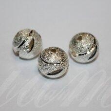 MD5041 apie 11 mm, apvali forma, sidabrinė spalva, intarpas, 3 vnt.