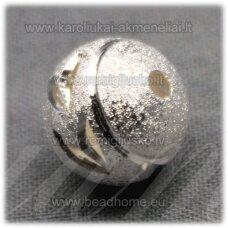 MD5042 apie 11 mm, apvali forma, sidabrinė spalva, intarpas, 3 vnt.