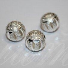 MD5043 apie 11 mm, apvali forma, sidabrinė spalva, intarpas, 3 vnt.
