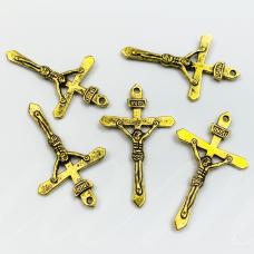 md6624 apie 37 x 22 mm, sendinta, auksinė spalva, pakabukas, 5 vnt.