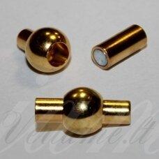 md7014 apie 16 x 8 mm, auksinė spalva, skylė 3 mm, magnetinis užsegimas, 1 vnt.