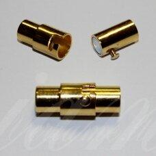 md7017.5 apie 16.5 x 7 mm, šviesi, auksinė spalva, skylė 5 mm, magnetinis užsegimas, 1 vnt.