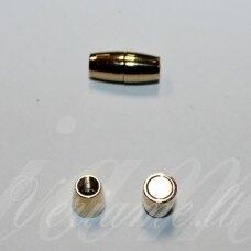 md7050 apie 16 x 7 mm, šviesi, auksinė spalva, skylė 4 mm, magnetinis užsegimas, 1 vnt.