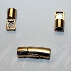 md7051 apie 28 x 8 mm, šviesi, auksinė spalva, skylė 6 mm, magnetinis užsegimas, 1 vnt.