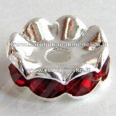 mdam0007-08 mm, sidabrinė spalva, akutės raudona spalva, 20 vnt.