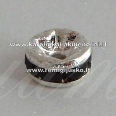 mdam0002-06 mm, sidabrinė spalva, akutės juoda spalva, 20 vnt.