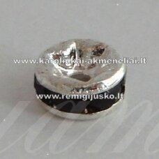 mdam0002-08 mm, sidabrinė spalva, akutės juoda spalva, 20 vnt.