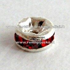 mdam0009-06 mm, sidabrinė spalva, akutės raudona spalva, 20 vnt.