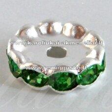 mdam0003-10 mm, sidabrinė spalva, akutės žalia spalva, 10 vnt.