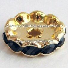 mdam0004-10 mm, auksinė spalva, akutės juoda spalva, 10 vnt.