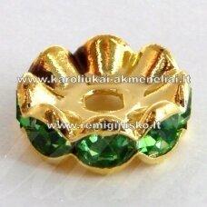 mdam0005-10 mm, auksinė spalva, akutės žalia spalva, 10 vnt.