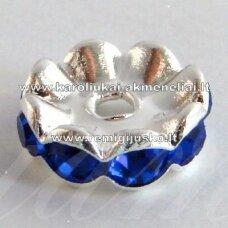 mdam0006-12 mm, sidabrinė spalva, akutės mėlyna spalva, 10 vnt.