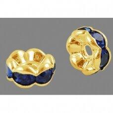 mdam0001-05 mm, auksinė spalva, akutės mėlyna spalva, 20 vnt.