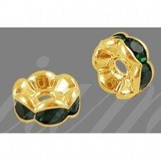mdam0010-06 mm, auksinė spalva, akutės tamsi žalia spalva, 20 vnt.