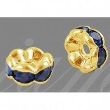 mdam0001-07 mm, auksinė spalva, akutės mėlyna spalva, 20 vnt.