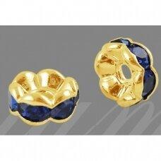 mdam0001-08 mm, auksinė spalva, akutės mėlyna spalva, 20 vnt.