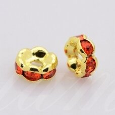mdam0008-10 mm, auksinė spalva, akutės raudona spalva, 10 vnt.