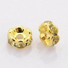 mdam0011-06 mm, auksinė spalva, akutės šviesi žalia spalva, 20 vnt.