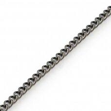 MDG0047 apie 3.2 x 2.2 x 0.6 mm, juoda spalva, grandinėlė, 1 m.