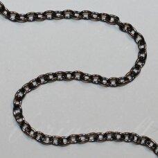 mdg0048 apie 2 x 3.5 x 0.5 mm, juoda spalva, grandinėlė, 1 m.