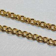 mdg0095 apie 2.1 x 3 x 0.6 mm, auksinė spalva, grandinėlė, 1 m.