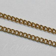 mdg0099 apie 1.6 x 2.5 x 0.5 mm, auksinė spalva, grandinėlė, 1 m.