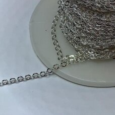 mdg0336-S about 2.6 x 2.2 mm, silver color, chain, 1 m.